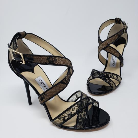 Jimmy Choo Lace Strappy Mesh Platform Kuki Black Sandals