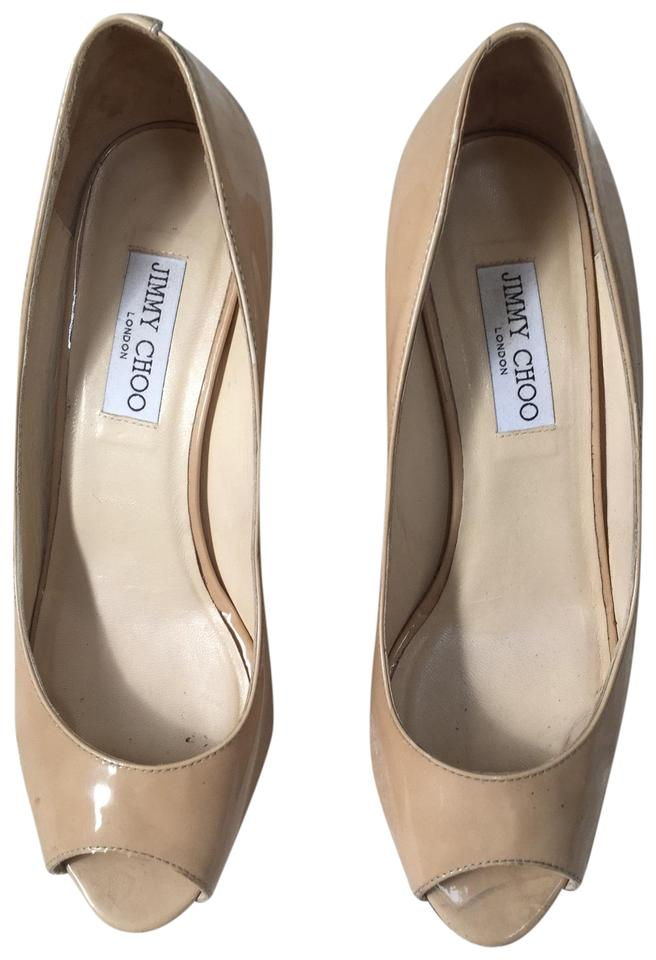 57ffd01a6fd Jimmy Choo Beige Baxen Wedges Size US 8.5 Regular (M