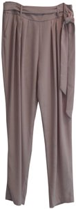 Ellen Tracy Pleated Waistline Detachable Sash Belt Side Hidden Zip Tapered Ankle Crepe Fabric Trouser Pants Beige