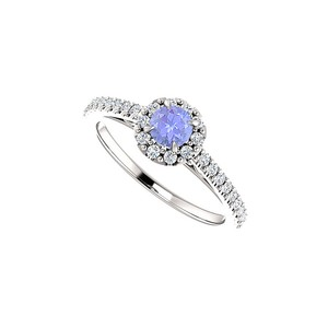 DesignByVeronica Round Tanzanite and CZ Halo Ring in 14K White Gold