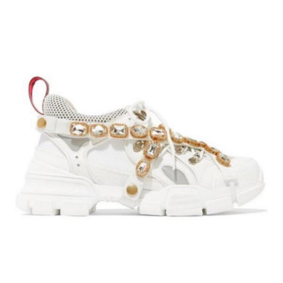 1fab8e1bfc9 Gucci Flashtrek Crystal Embellished Leather Dad Sneakers Sneakers ...