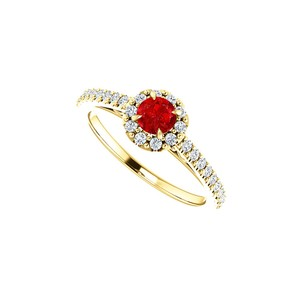 DesignByVeronica Round Ruby and CZ Halo Ring Styled in 14K Yellow Gold