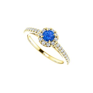 DesignByVeronica Round Sapphire and CZ Halo Ring in 14K Yellow Gold