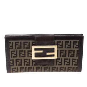 Fendi Brown Zucchino Canvas Forever Continental Wallet