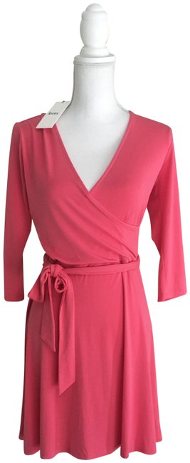 Item - Pink / Watermelon Faux Wrap Mid-length Short Casual Dress Size 4 (S)