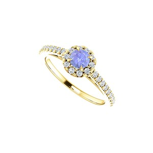 DesignByVeronica Round Tanzanite and CZ Halo Ring in 14K Yellow Gold