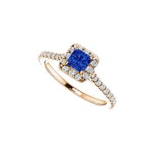 DesignByVeronica Sapphire Cubic Zirconia Halo Square Ring 14K Rose Gold
