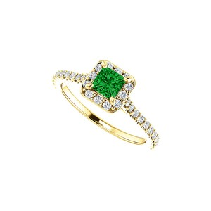 DesignByVeronica May Birthstone Emerald and CZ Square Halo Ring in Gold