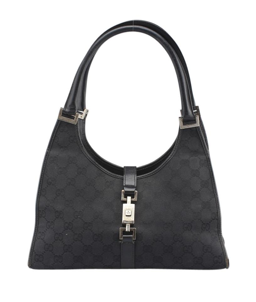 18e2fecacba3 Gucci Bardot Black Canvas Shoulder Bag - Tradesy