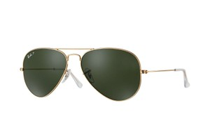 Ray-Ban Ray-Ban Gold/Green Aviator Polarized Sunglasses RB 3025 62mm