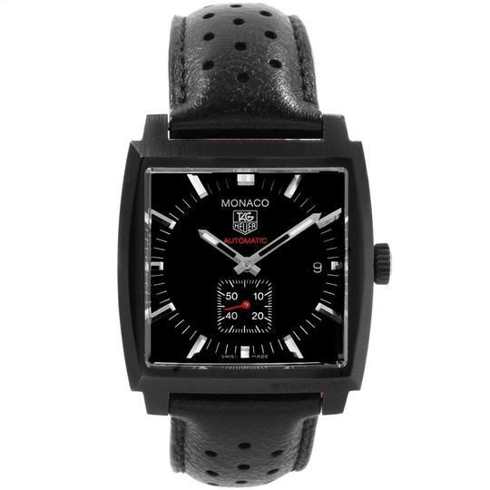 TAG Heuer Tag Heuer Monaco Black Red Leather Strap Mens Watch WW2119 Box Card Image 1