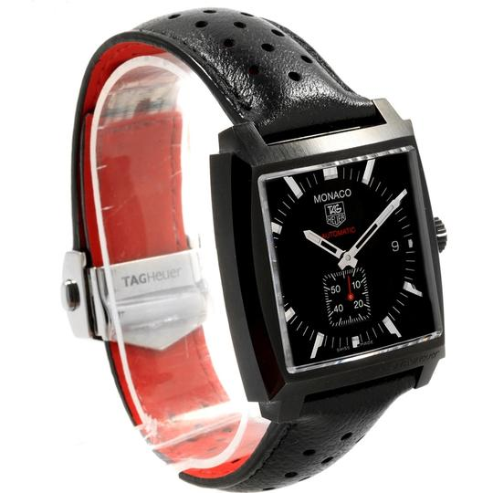 TAG Heuer Tag Heuer Monaco Black Red Leather Strap Mens Watch WW2119 Box Card Image 2