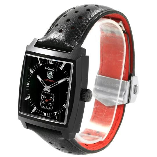 TAG Heuer Tag Heuer Monaco Black Red Leather Strap Mens Watch WW2119 Box Card Image 3