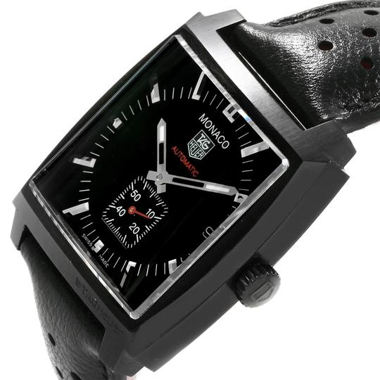 TAG Heuer Tag Heuer Monaco Black Red Leather Strap Mens Watch WW2119 Box Card Image 4