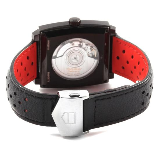 TAG Heuer Tag Heuer Monaco Black Red Leather Strap Mens Watch WW2119 Box Card Image 6