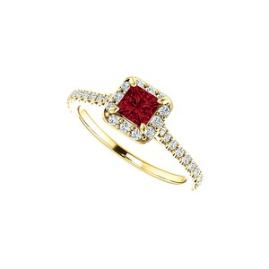 DesignByVeronica July Birthstone Ruby and CZ Square Halo Ring in Gold