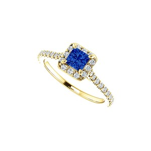 DesignByVeronica Princess Cut Sapphire and Round Cubic Zirconia Ring