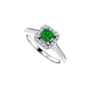DesignByVeronica Channel Set CZ Accented Square Emerald Halo Ring Gold