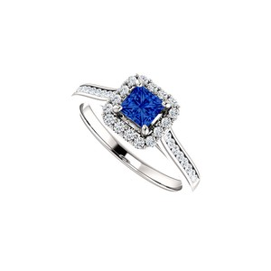 DesignByVeronica Channel Set CZ Accented Sapphire Halo Ring White Gold