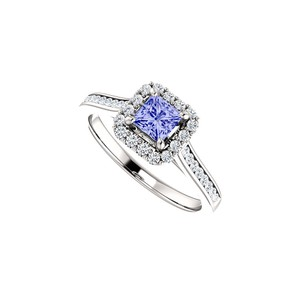 DesignByVeronica Channel Set CZ Accented Tanzanite Halo Ring White Gold