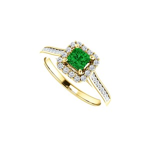 DesignByVeronica 1 CT Channel Set CZ Accented Emerald Halo Ring 14K Gold`