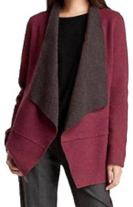 Eileen Fisher Contrast Facing Open Front Shawl Collar Boxy Silhuette Matching Pin Cardigan