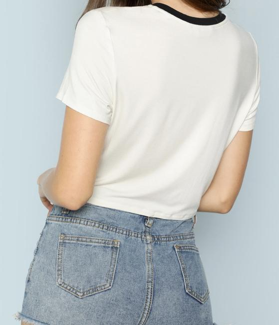 SheIn Sleeve Crop Round Neck Knot Stretchy T Shirt White Image 2
