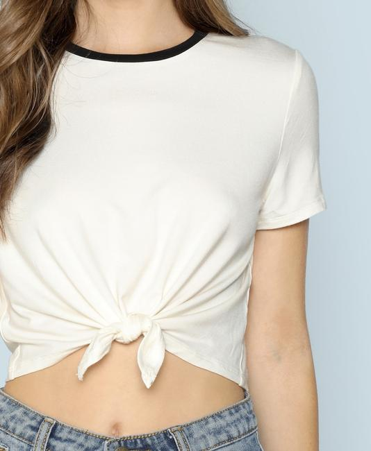 SheIn Sleeve Crop Round Neck Knot Stretchy T Shirt White Image 3