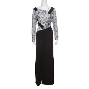 Tadashi Shoji Monochrome Floral Embroidered Marissa Gown M Casual Wedding Dress Size 4 (S)