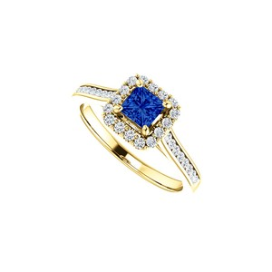 DesignByVeronica 1 CT Channel Set CZ Accented Sapphire Halo Ring Gold