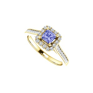 DesignByVeronica 1 CT Channel Set CZ Accented Tanzanite Halo Ring Gold