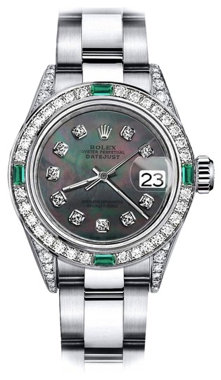 Preload https://img-static.tradesy.com/item/24182627/rolex-stainless-steel-ladies-black-pearl-26mm-datejust-diamond-lugs-and-emerald-watch-0-1-540-540.jpg