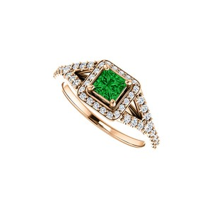 DesignByVeronica Square Emerald and CZ Split Shank Halo Ring Rose Gold