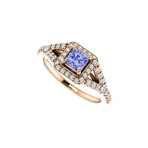 DesignByVeronica .75 ct tw Square Tanzanite and CZ Split Shank Halo Ring