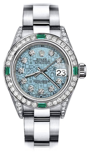 Preload https://img-static.tradesy.com/item/24182661/rolex-stainless-steel-ladies-blue-logo-26mm-datejust-diamond-lugs-and-emerald-watch-0-1-540-540.jpg