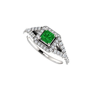 DesignByVeronica .75 ct tw Square Emerald and CZ Split Shank Halo Ring