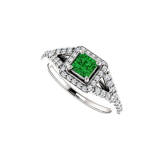 Preload https://img-static.tradesy.com/item/24182666/green-75-ct-tw-square-emerald-and-cz-split-shank-halo-ring-0-0-540-540.jpg