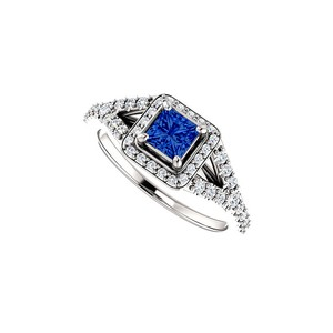 DesignByVeronica CZ Square Sapphire Split Shank Halo Ring in White Gold