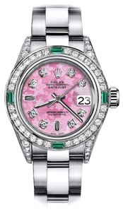 Rolex Ladies Rolex Pink Flower 8+2 26mm Datejust Diamond lugs & Emerald