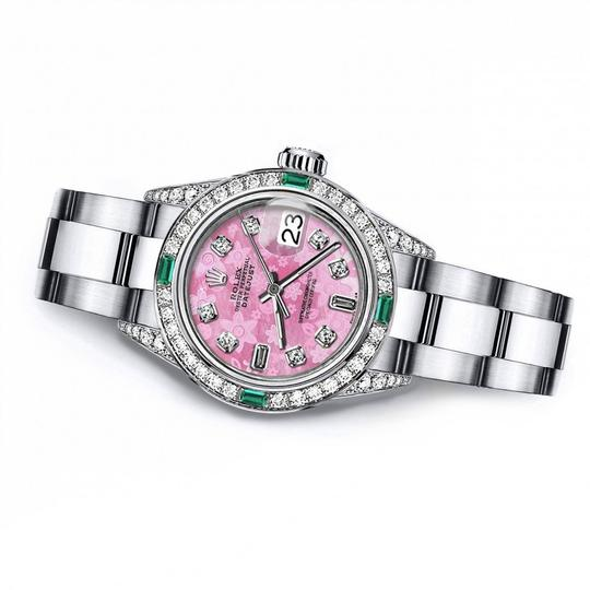 Rolex Ladies Rolex Pink Flower 8+2 26mm Datejust Diamond lugs & Emerald Image 1