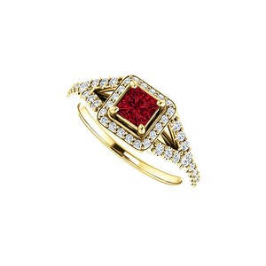 DesignByVeronica CZ and Faceted Cut Ruby Split Shank Halo Ring 14K Gold