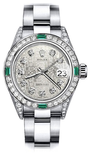 Preload https://img-static.tradesy.com/item/24182725/rolex-stainless-steel-ladies-white-logo-26mm-datejust-diamond-lugs-and-emerald-watch-0-1-540-540.jpg