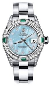 Rolex Rolex Baby Blue Pearl Roman 26mm Datejust SS Diamond lugs & Emerald