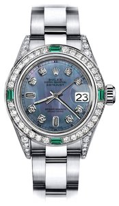 Rolex Rolex Black Pearl 8+2 TR 26mm Datejust Diamond lugs & Emerald