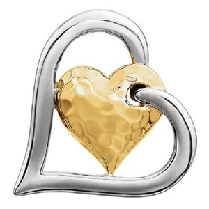 Apples of Gold HAMMERED DOUBLE HEART PENDANT, 14K TWO-TONE GOLD