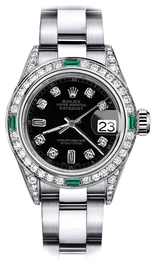Preload https://img-static.tradesy.com/item/24182780/rolex-stainless-steel-black-track-82-26mm-datejust-ss-diamond-lugs-and-emerald-watch-0-1-540-540.jpg