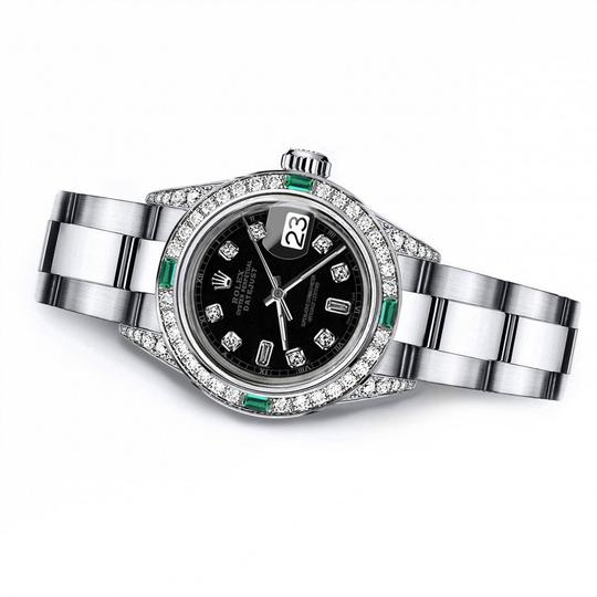 Rolex Rolex Black Track 8+2 26mm Datejust SS Diamond lugs & Emerald Image 1