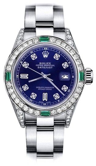 Preload https://img-static.tradesy.com/item/24182786/rolex-stainless-steel-blue-82-26mm-datejust-diamond-lugs-and-emerald-watch-0-1-540-540.jpg