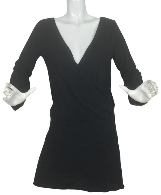 Preload https://img-static.tradesy.com/item/24182787/aqua-black-cashmere-sweater-faux-wrap-long-sleeves-women-short-casual-dress-size-8-m-0-2-650-650.jpg