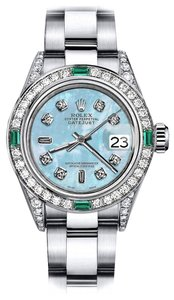 Rolex Rolex Blue Pearl 8+2 26mm Datejust Diamond lugs & Emerald